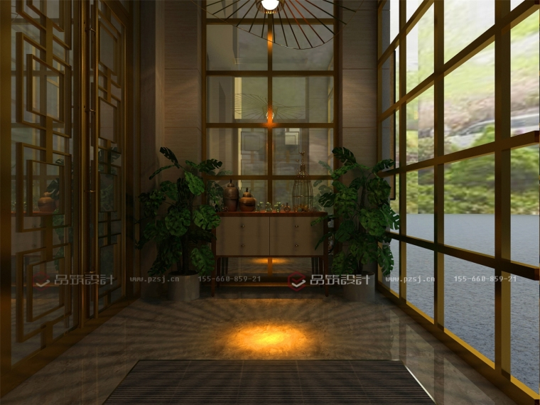 这样的沈阳私人办公会所设计效果图真是美呆了!-1.门厅.jpg