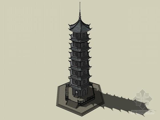 景观塔sketchup模型