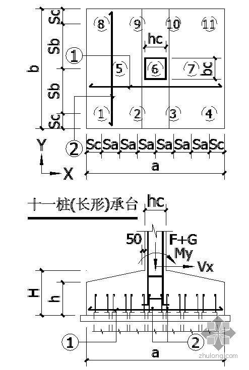 某十一桩(长形)承台节点构造详图