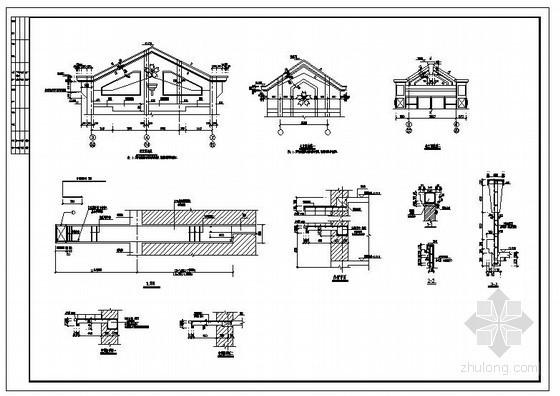某坡屋顶造型及挑梁节点构造详图