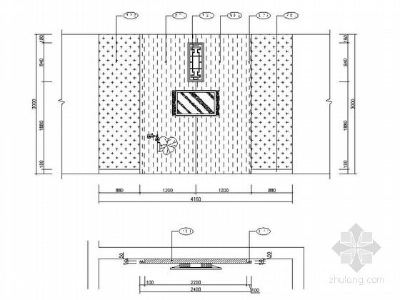 [成都]地级市典雅中式风格酒店室内装修施工图雅间立面图