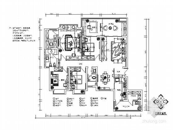 [长沙]高级住宅小区中式风格四居室装修施工图(含效果图)