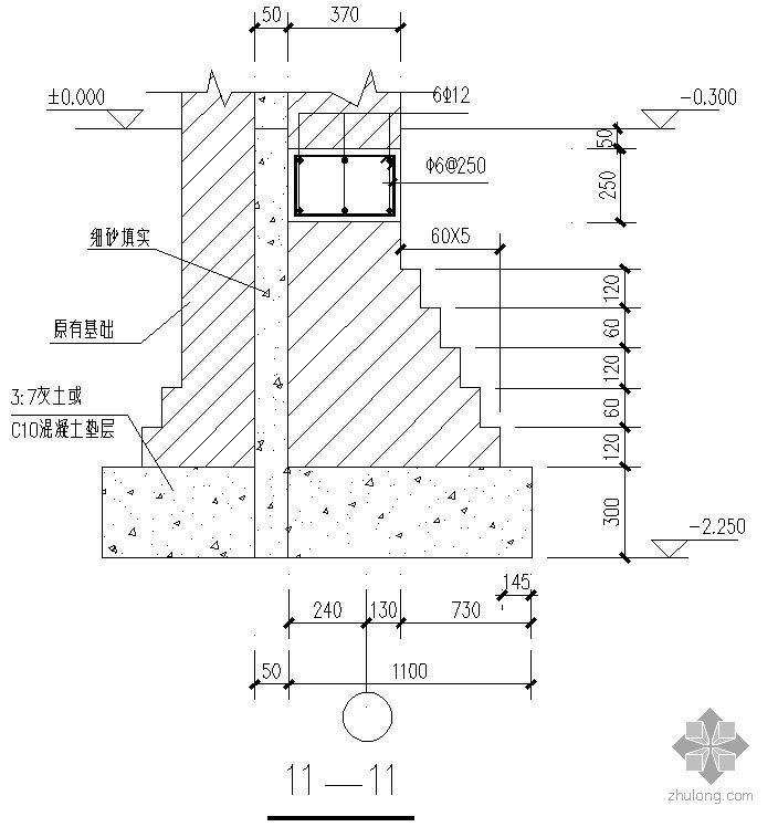 某砖砌大放脚条基1000节点构造详图