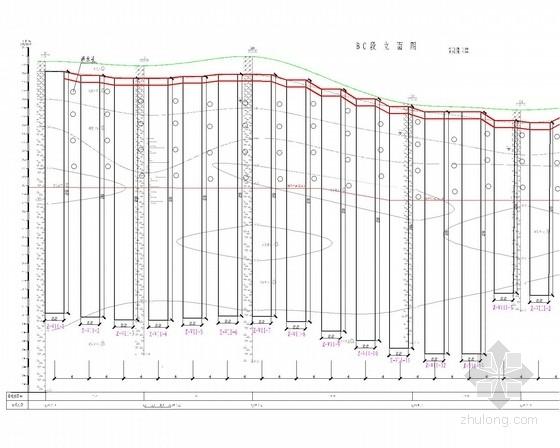 [四川]桩板墙加预应力锚索边坡支护施工图