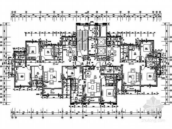 高层住宅一梯三户型图(156、120平方米)