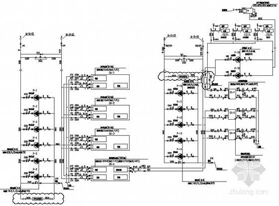 [上海]大型综合商业办公楼暖通空调全套施工图-空调冷热水系统原理图