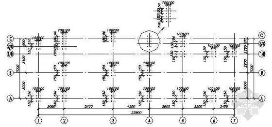 某主体三层局部四层钢框架结构施工图纸