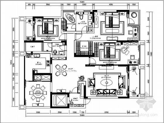 [重庆]某欧式大户型四居室平面图