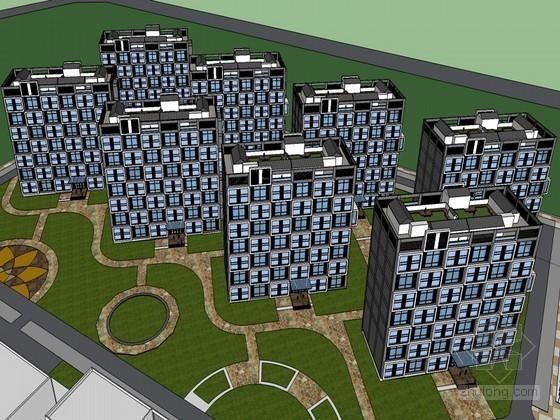 多层住宅SketchUp模型下载