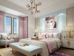 粉蓝色调现代风优雅卧室3D模型