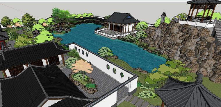 中式古建园林会所院落模型(su模型)-7