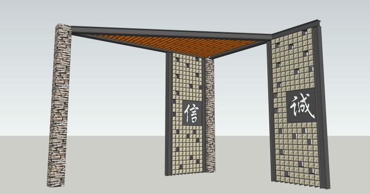 园林景墙庭院景观SU模型设计(10个su模型)_3