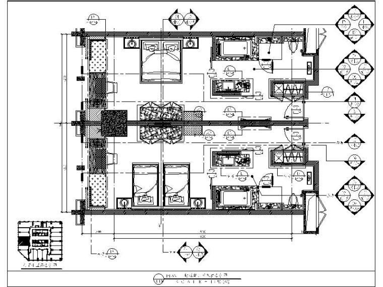 [成都]高端简约酒店客房设计施工图(含效果图)