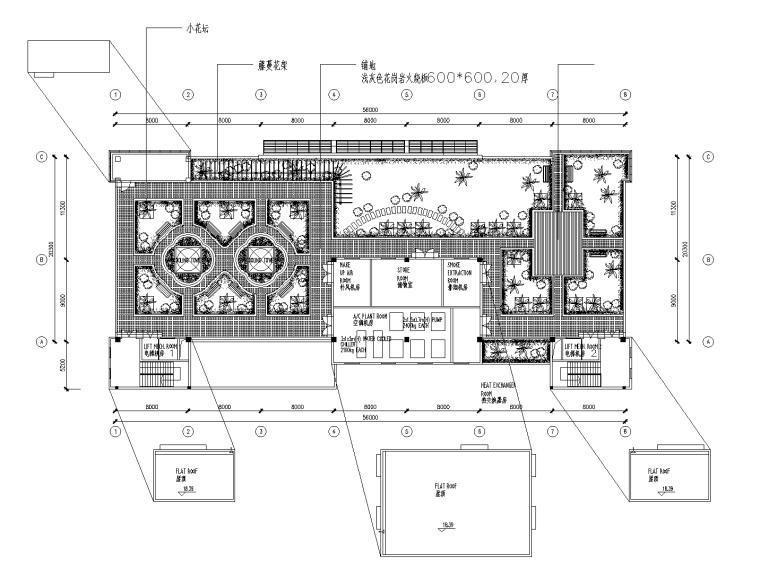 36套屋顶花园景观CAD平面图(各类型的屋顶花园)1-10