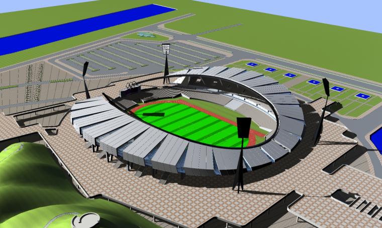 株洲体育场建筑设计施工图效果图
