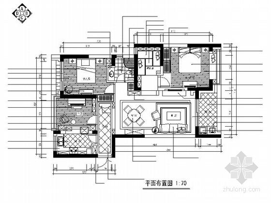 [杭州]典雅小区田园风格两居室装修施工图(含效果图)