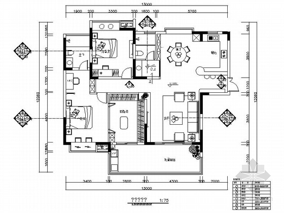 [江苏]清新现代风格两居室样板间装修施工图(含效果)