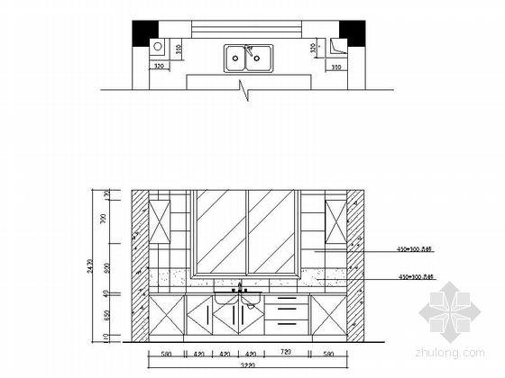 一小套经典三居室家装施工图厨房立面图