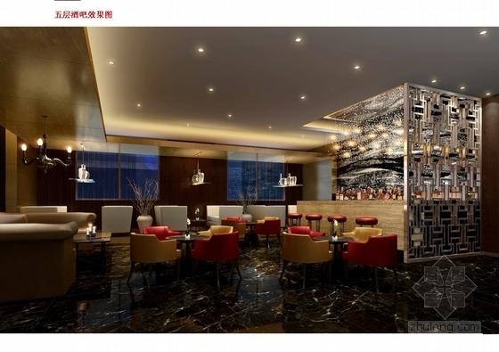 [上海]中心商业圈四星级现代风格酒店室内设计概念方案酒吧效果图