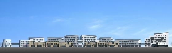 [浙江]现代风格多层旅游交通集散中心规划设计方案文本(两个方案)-现代风格多层旅游交通集散中心立面图