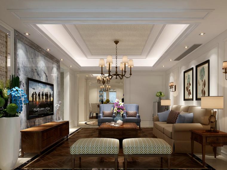 新古典客厅3D模型下载