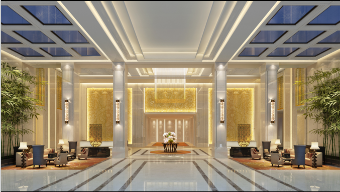 简约大气的宾馆设计方案效果图(含3D模型,材质,光域网)