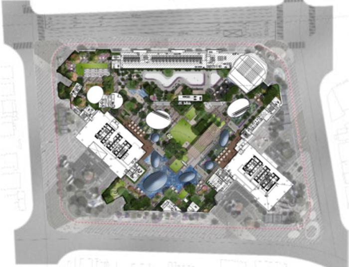 [上海]滨江雨水花园现代新商圈中央活动区办公环境景观规划设计