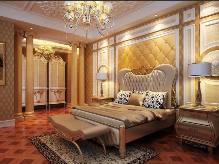 欧式精致卧室3D模型下载