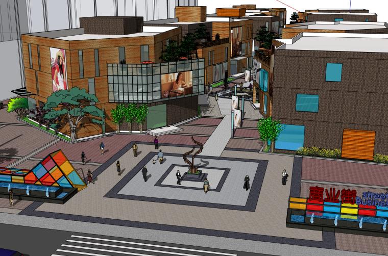 岛式商业步行街精细建筑SU模型