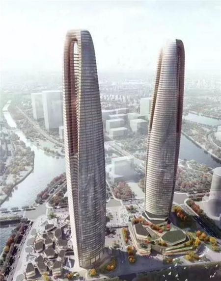 环湾将建青岛第一高楼?390米双子塔超海天中心