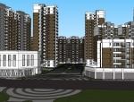 现代风格小区建筑设计规划SU模型
