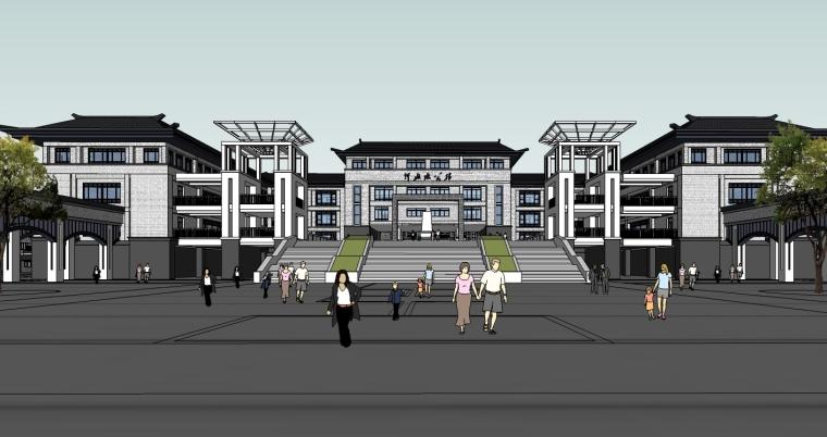 中式风格中学建筑设计SU模型_4