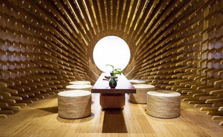 上海矩形空间交叠的茶室