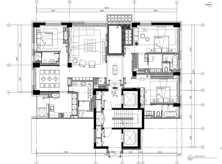 [北京]李玮珉-中赫万柳书院标准层三居室样板房施工图+软装方案+效果图