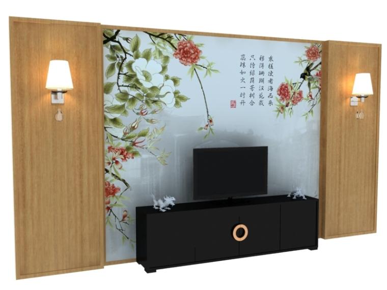 现代中式背景墙3D模型下载