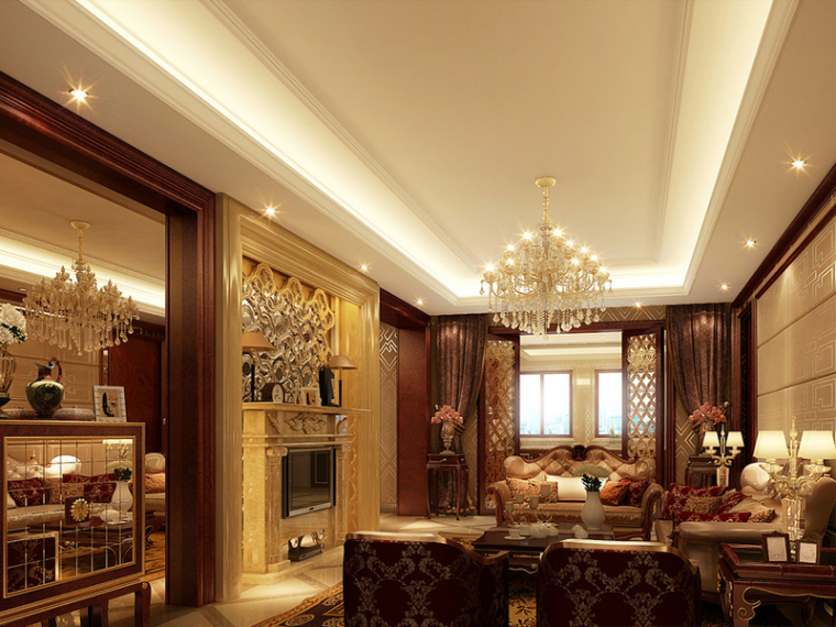 欧式华丽客厅3D模型下载-欧式华丽客厅