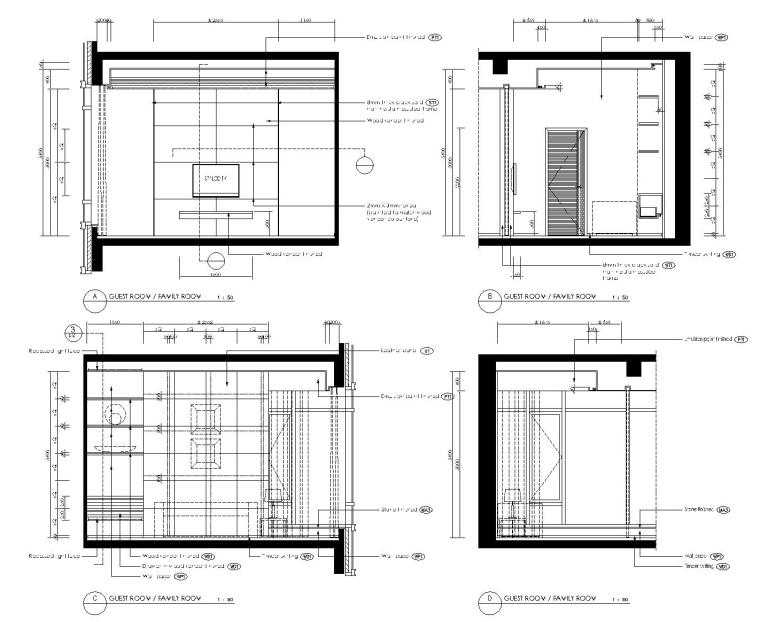 [香港]现代轻奢风格复式楼层装修全套施工图(附效果图)_7