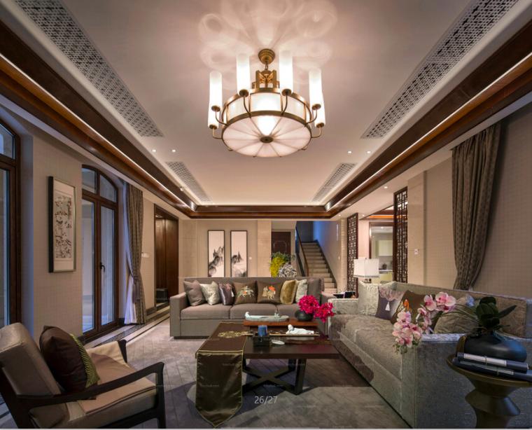 [濮阳]新古典中式风格别墅室内设计施工图(含实的贵别墅最山东图片