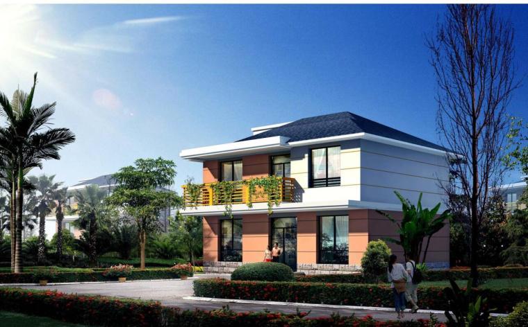 二层别墅建筑设计(包含效果图+施工图)