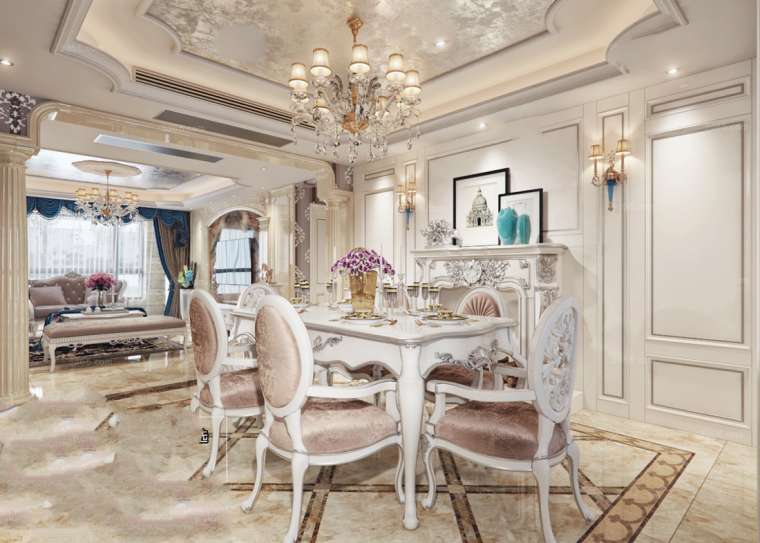 7套欧式风格餐厅厨房3D模型