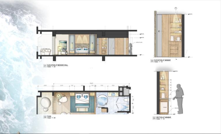 [三亚]某豪华酒店样板房方案设计施工图(含效果图及软装)_2
