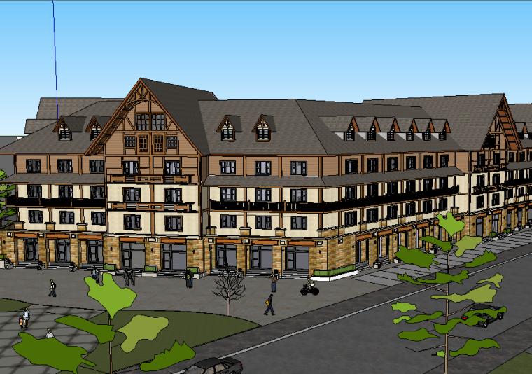 新古典主义风格商业街建筑模型设计