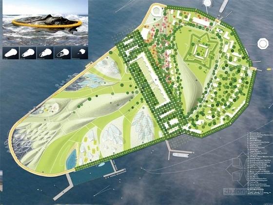 [美国]小岛公园英文景观规划设计方案(效果图精美)