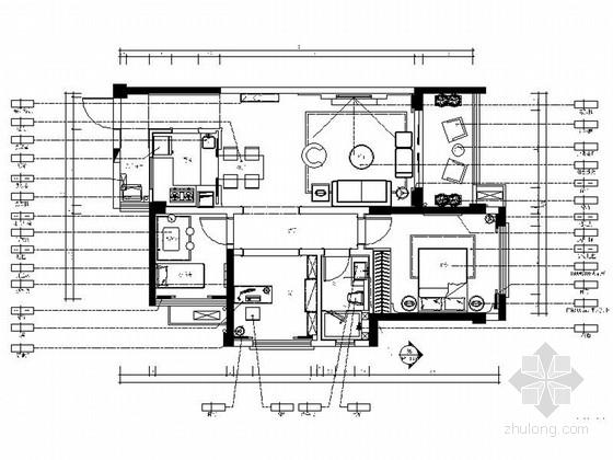 [广东]精品简约欧式三居室样板间室内设计装修施工图(图纸较好,推荐!)