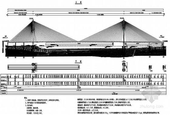 [湖北]6车道双塔单侧混合梁斜拉桥上部结构图纸83张(桥宽33.5米)