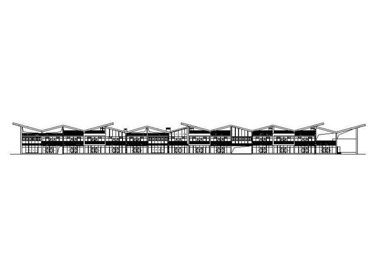 [四川]两层折线起伏型屋顶美食街建筑施工图(16年最新)