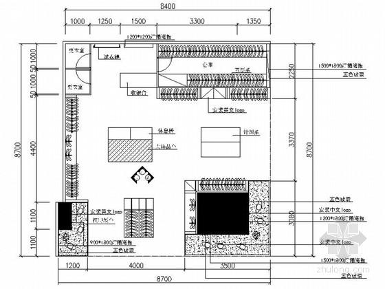 精品现代风格服装专卖店室内装修施工图(含效果图)