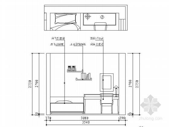 [宁波]姚江官邸雅致现代两居室装修施工图次卧立面图