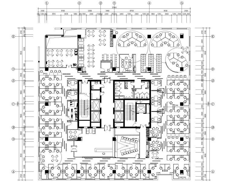 [四川]戴尔成都市办公室装修设计施工图+效果图
