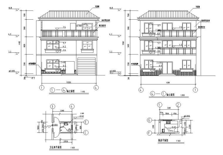 半框架半砖混结构独栋别墅建筑施工图设计-周立面图